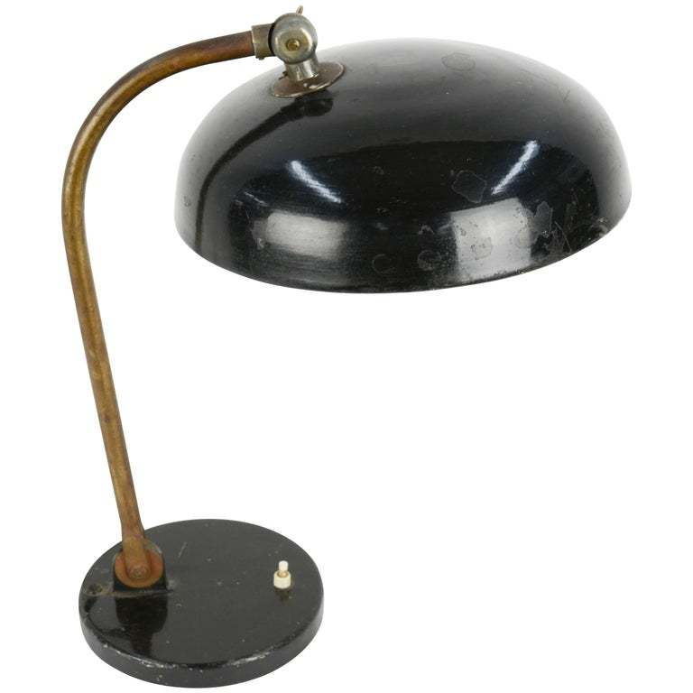 1920s Finely Tooled German Industrial Desk Lamp with Directional Shade 1