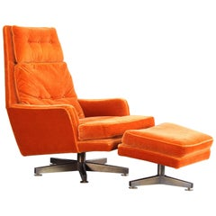 Edward Wormley Swivel Lounge Chair and Ottoman for Dunbar, 1960