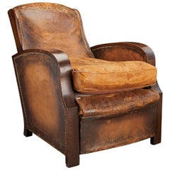 Leather Lounge Chair, circa 1930