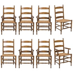 Ladder Back Rush Seat Dining Chairs