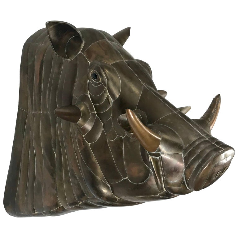 Monumental Sergio Bustamante Copper and Brass Warthog Wall Sculpture