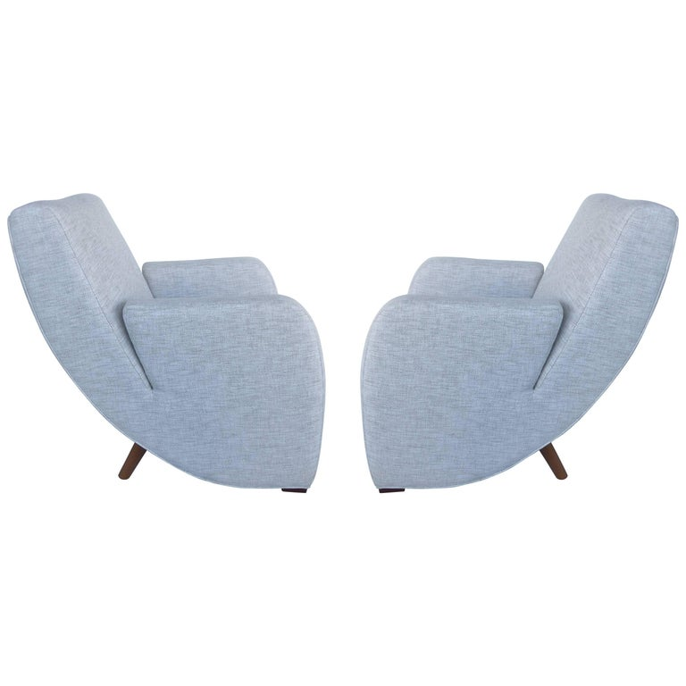 Mid-Century Modern Upholstered Club Chairs, Pair