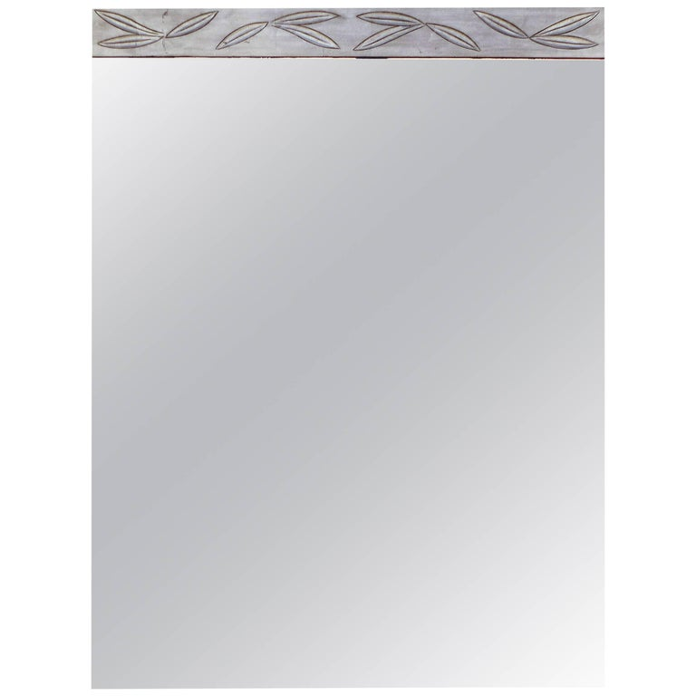 James Mont Silver Leaf Wood Mirror