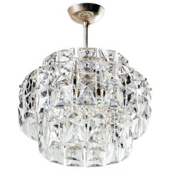 Exquisite German Mid-Century Modern Faceted Crystal Chandelier