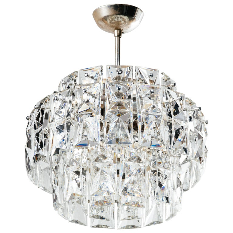 Exquisite German Mid-Century Modern Faceted Crystal Chandelier For Sale