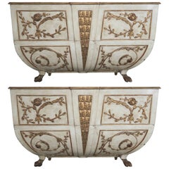 19th Century Italian Painted and Parcel-Gilt Consoles, Pair