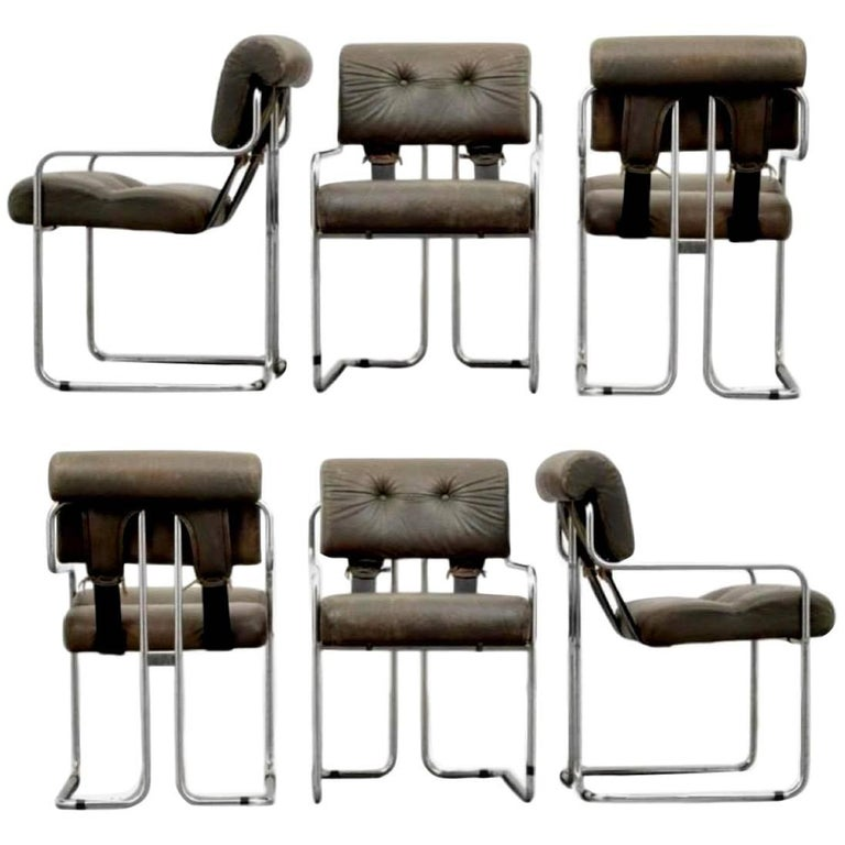 Six Tucroma Pace Chairs in Grey Leather by Guido Faleschini