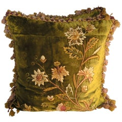 Antique Silk Velvet Embroidered Pillows, Pair