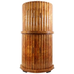 Art Deco Fluted Cocktail Cabinet in Burr Walnut by Epstein