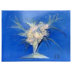 Modern Blue Handmade Painting Bouquet De Fleurs, 2007, Signed from France