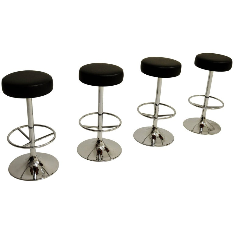 Vintage Chromed Johansson Design Bar Stools