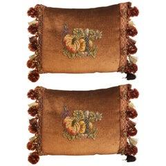 19th Century Metallic and Chenille Silk Mohair Pillows, Pair