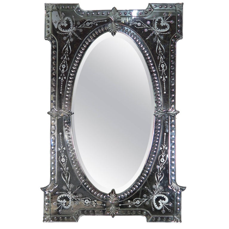 Monumental Size Etched Venetian Mirror, circa 1930s