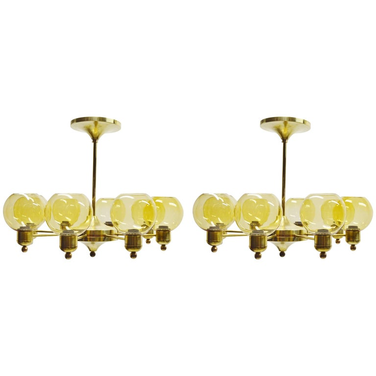 Large Pair of Brass Chandeliers of Unknown Design, circa 1960