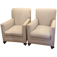 Pair of Edwardian Club Armchairs in a Grey Green Gingham Fabric