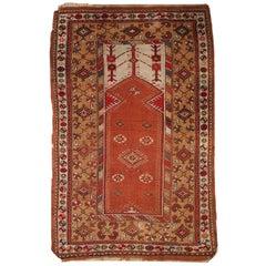 Handmade Antique Prayer Turkish Melas Rug, 1920s, 1C316
