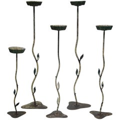 Set of Five Tall Folk-Art Candleholders, France, circa 1950s