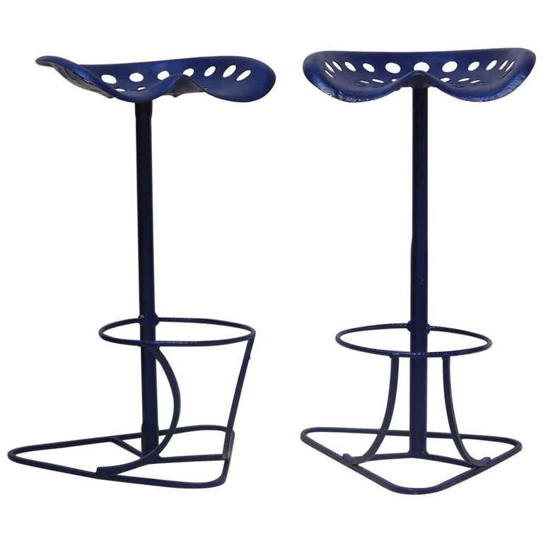 Pair of French Tractor Seat Stools, circa 1950s