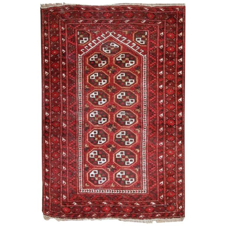 Antique Afghan Rugs: Handmade Antique Prayer Afghan Adraskand Rug, 1920s For
