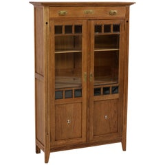 Dutch Oak Art Nouveau Arts & Crafts Bookcase with Inlay, 1900s