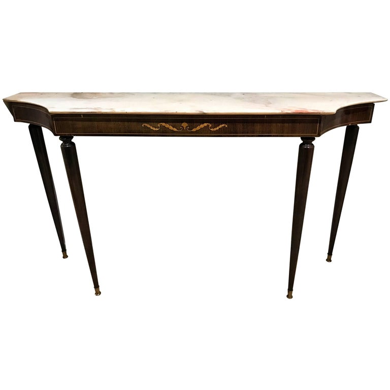 Italian Inlaid Mahogany Wood Marble-Top Console Table