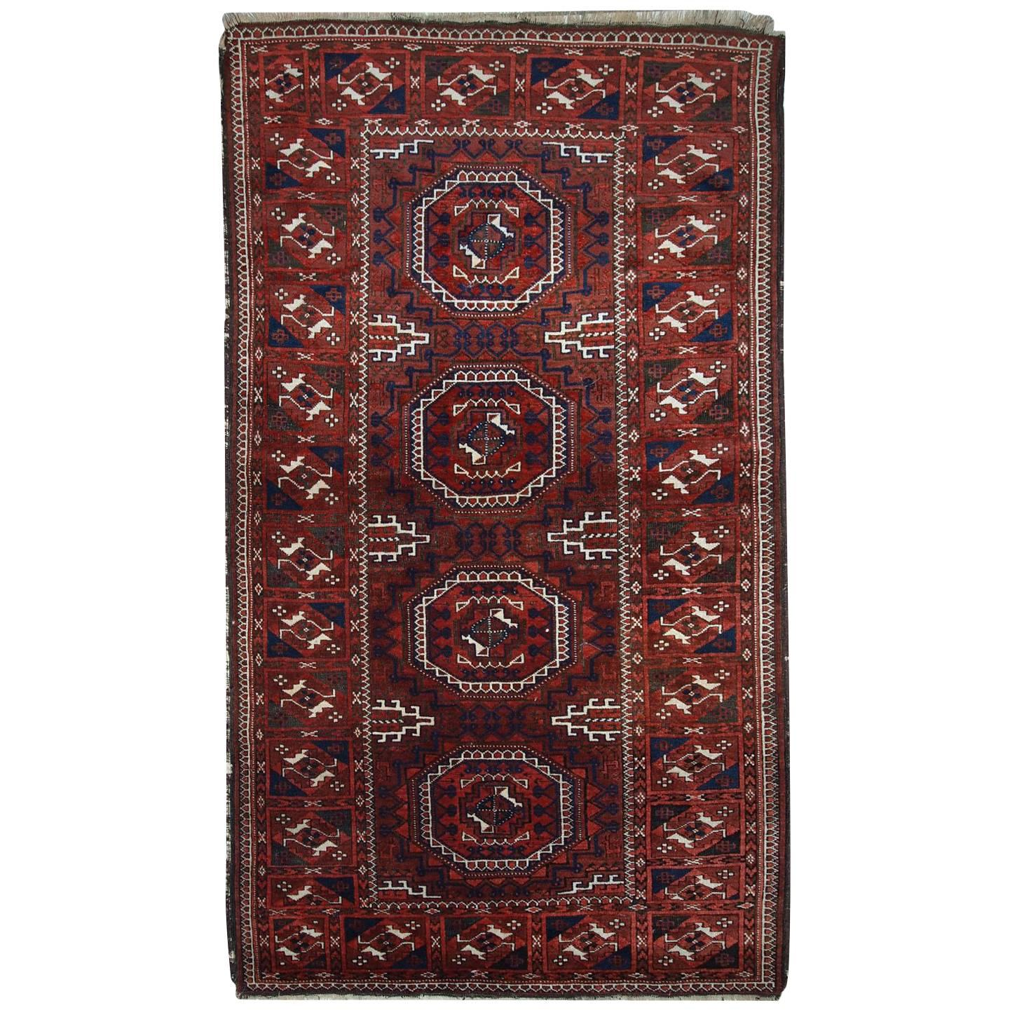 Handmade Antique Afghan Baluch Rug, 1900s, 1C357