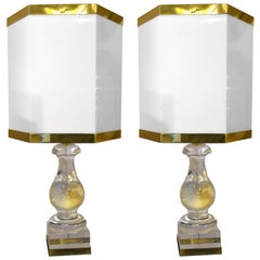 Art Deco Table Crystal Lamps with Hexagonal Lampshade