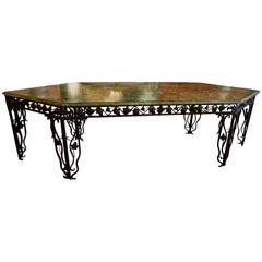 Garden or Interior Console in Sea Green Marble and Wrought-Iron, 1930s