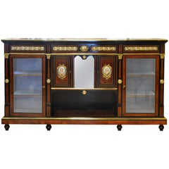 English 19th Cent. Ormolu and Sevres Plaque Mounted Inlaid Burl Walnut Credenza