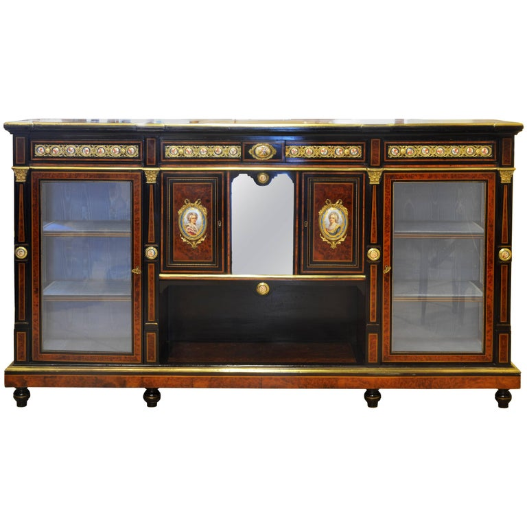English 19th Cent. Ormolu and Sevres Plaque Mounted Inlaid Burl Walnut Credenza 1