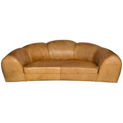 Jean Royere Style Polar Bear Monumental Cresent Brown Leather Sofa, France