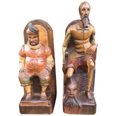 Large Hand-Carved & Painted Wooden Don Quixote and Sancho Panza Bookends
