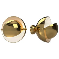 Pair of Spherical Adjustable Brass Sconces by XXieme, France