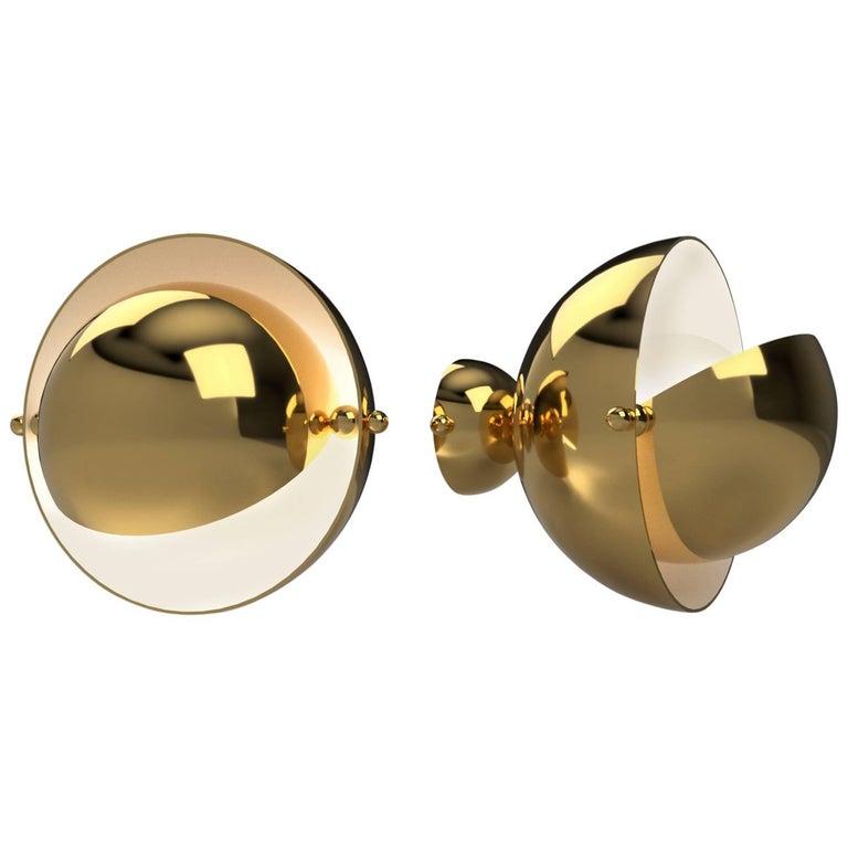Pair of Spherical Brass Sconces, VINGTIEME Edition, Paris