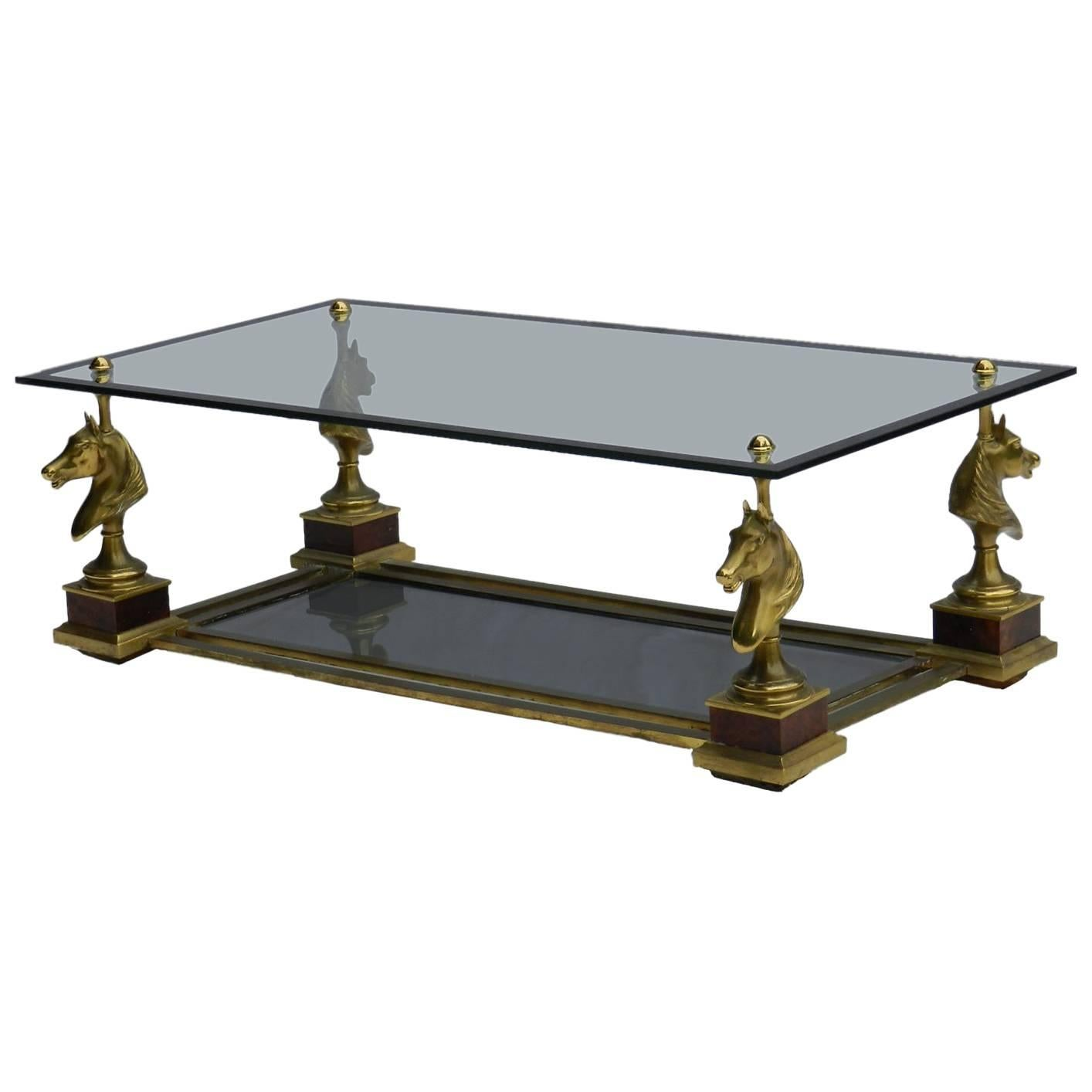 Coffee Table Maison Charles French Vintage Glass Brass Horse Heads,  Midcentury For Sale