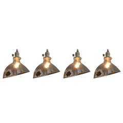 Four Mercury Glass Industrial Pendant Shade Lights