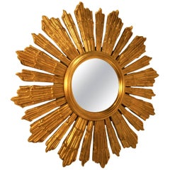 French Giltwood Sunburst Mirror, 1940s