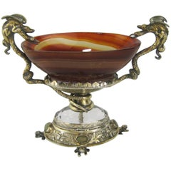 Silver Mounted Agate Pedestal Dish with Serpents and Frogs Antique Salt Cellar