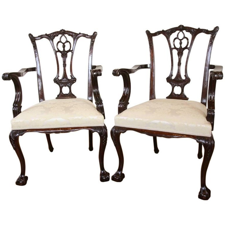 Pair of Mahogany Chippendale Style Carvers