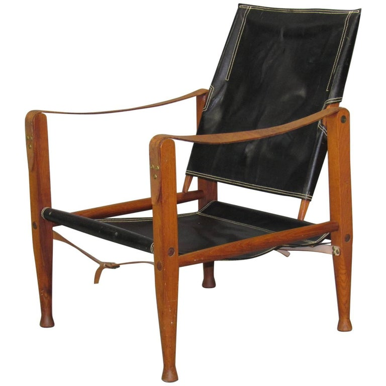 Black Leather Safari Chair by Kaare Klint for Rud Rasmussen For Sale