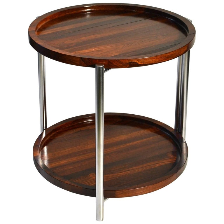 Danish 1960s Side Table with Two Round Palisander Trays