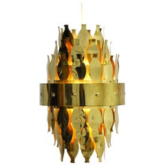 Cool Originally 1970s Brass Ceiling Light from Swedish Aneta Belysning