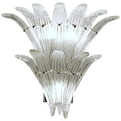Four Palmette Sconces, 12 Leaves Each, Murano, Barovier Toso Style, circa 1990s