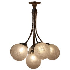 French Art Deco Chandelier with Six Glass Globe Shades