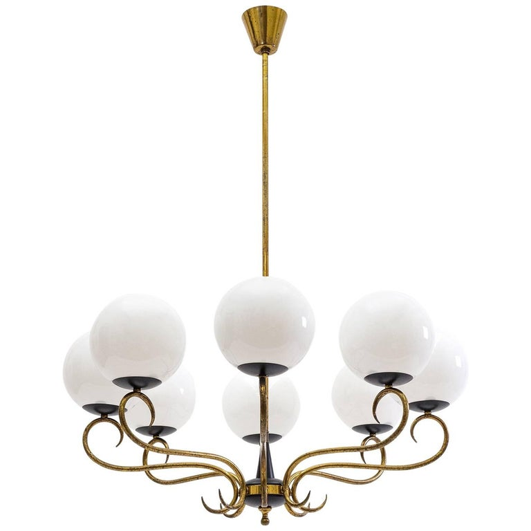 1940s Italian Eight-Arm Brass and Glass Chandelier