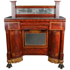 Antique Meeks Co. Classical Empire Flame Mahogany Pier Table Sideboard