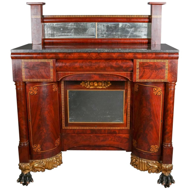 Antique Meeks Co Classical Empire Flame Mahogany Pier