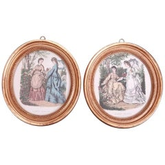 Pair of Printed and Hand Colored Fashion Plates in Antique Oval Gilt Frames