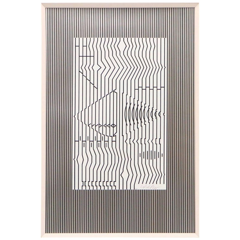 Victor Vasarely Op-Art Serigraph Titled 'The Guitar'