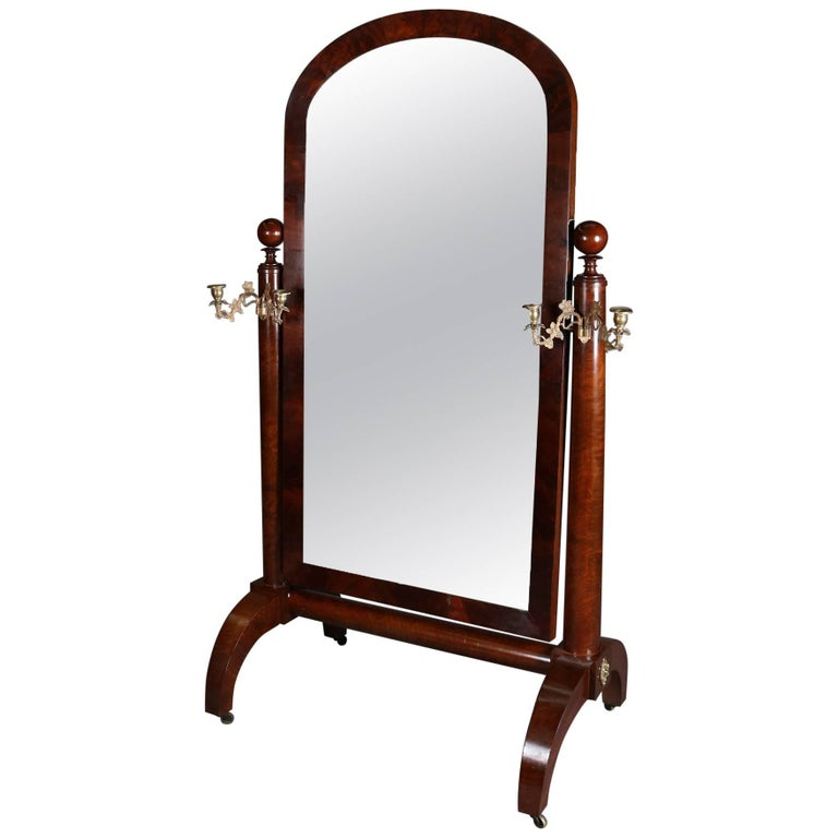 American Empire Quervelle School Flame Mahogany Cheval Mirror, 20th Century